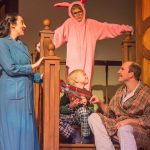 A Christmas Story, The Musical: L to R: Frances Bordlee as Mother, Cannon Bosarge as Ralphie, Wyatt Roberson as Randy, and Daniel Hines as The Old Man