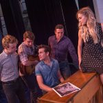 Million Dollar Quartet, the iconic image: L to R: Ian Fairlee as Jerry Lee Lewis, Austin Hohnke as Carl Perkins, Austin Thomas as Elvis Presley (sitting at piano), Austin Wayne Price as Johnny Cash, and Bailey McCall Thomas as Dyanne (on piano). Photo by James Patterson