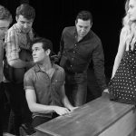 Million Dollar Quartet, the iconic image: L to R: Ian Fairlee as Jerry Lee Lewis, Austin Hohnke as Carl Perkins, Austin Thomas as Elvis Presley (sitting at piano), Austin Wayne Price as Johnny Cash, and Baily McCall Thomas as Dyanne (on piano). Photo by James Patterson