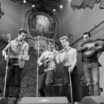 Million Dollar Quartet: L to R: Austin Thomas as Elvis Presley, Austin Hohnke as Carl Perkins, Ian Fairlee as Jerry Lee Lewis, and Austin Wayne Price as Johnny Cash. Photo by James Patterson