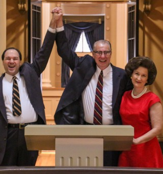 L to R: John Howell as Senator Hubert Humphrey, Mitch Tebo as Lyndon B. Johnson, and Viola Dacus as Lady Bird Johnson in All The Way.