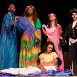 Back L to R: Keith Palmer as Agwe, Lauren Hite as Asaka, Lauren Brogan as Erzulie, and Jory Tanaka as Papa Ge; Front: Hannah Brady as Ti Moune and Jeffrey Cornelius as Daniel in New Stage Theatre's Summer Camp production of Once On This Island Jr.