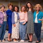 Cast of Steel Magnolias L to R: Viola Dacus as Ouiser, Laurie Pascale as Clairee, Wendy Miklovic as M'Lynn, Annie Cleveland as Shelby, Taylor Galvin as Annelle, Jessica Wilkinson as Truvy